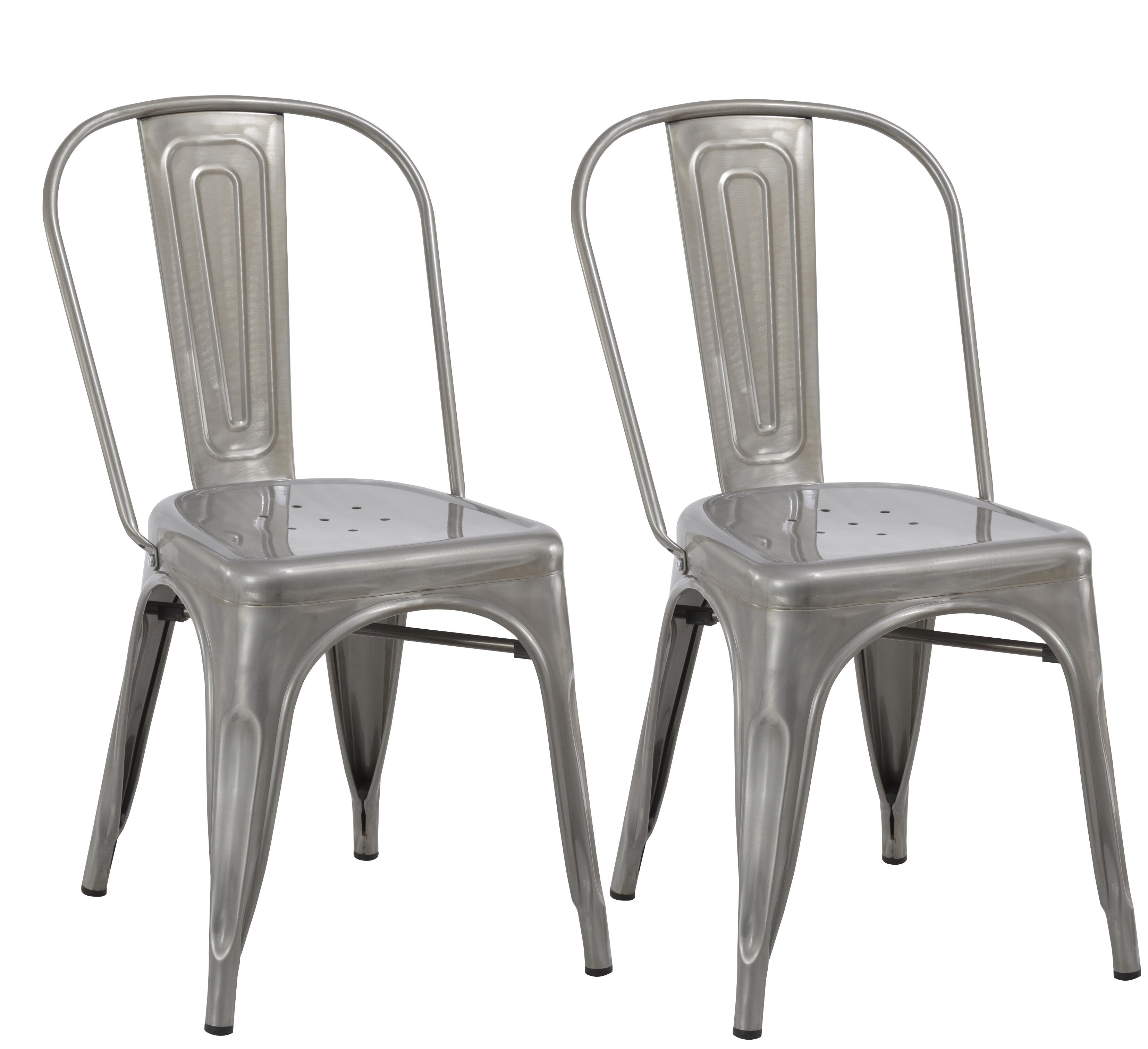 FamisCorp Industrial Metal Bistro Stackable Cafe Dining Chair Wayfair - Metal cafe table and chairs