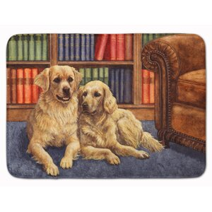Retrievers in the Library Memory Foam Bath Rug