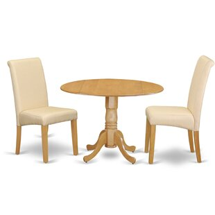 Pappalardo Small Table 3 Piece Drop Leaf Solid Wood Breakfast Nook Dining Set