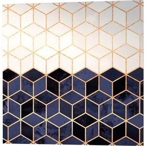 'White and Navy Cubes' Graphic Art on Wrapped Canvas