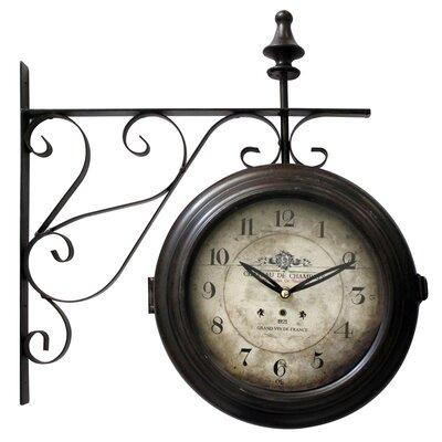 round beigeblack wall clock