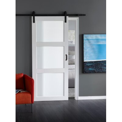 Erias Home Designs Continental Glass Barn Door with Installation Hardware Kit Finish: Bright White