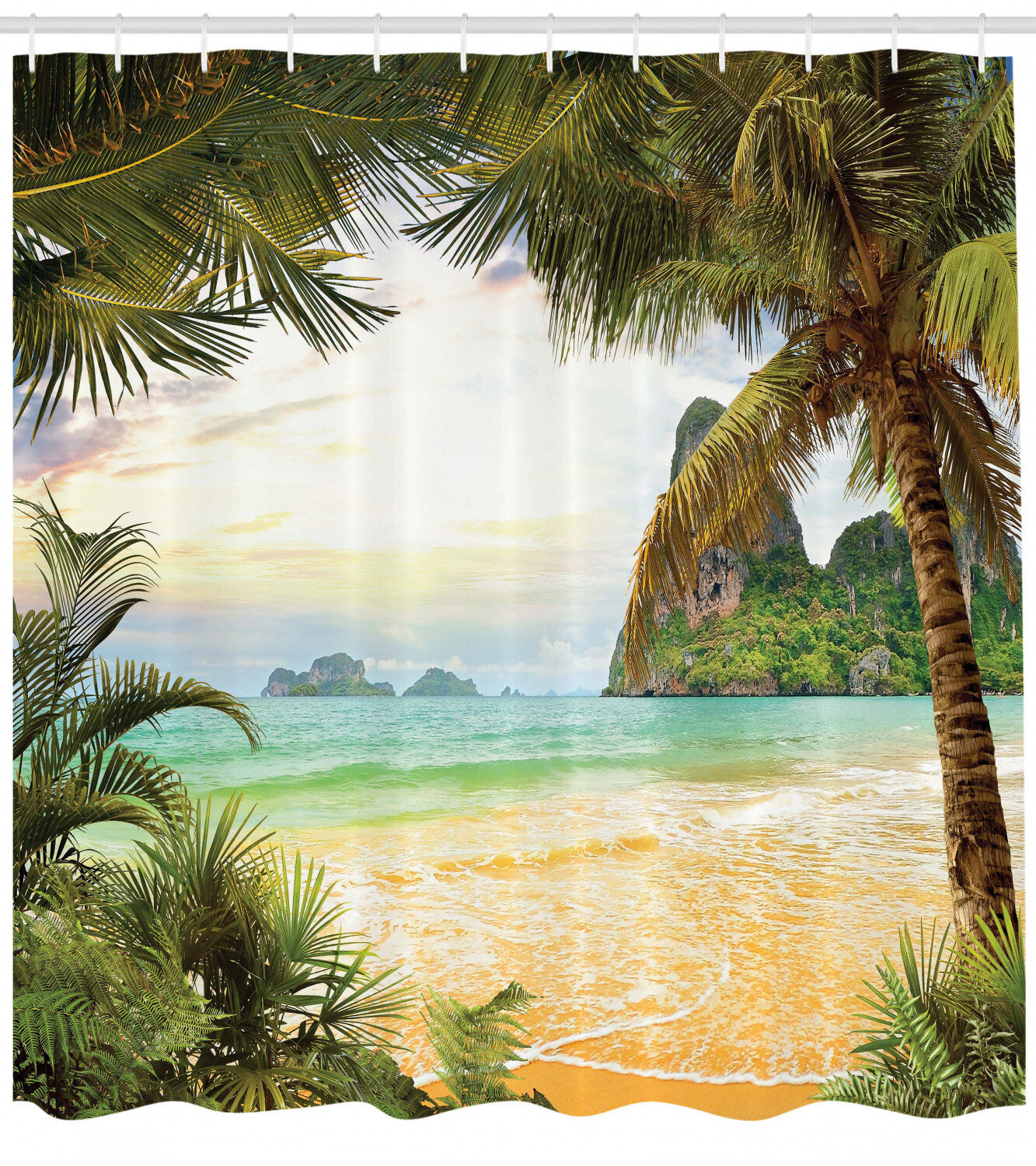 Shower Curtains Tropical Ocean Beach Palm Trees Shower