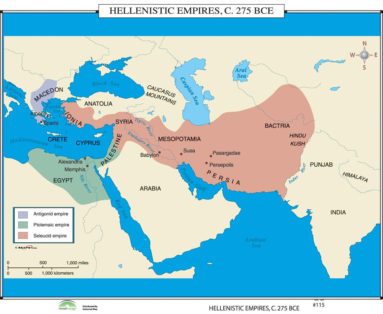Universal Map World History Wall Maps Hellenistic Empires Wayfair Ca