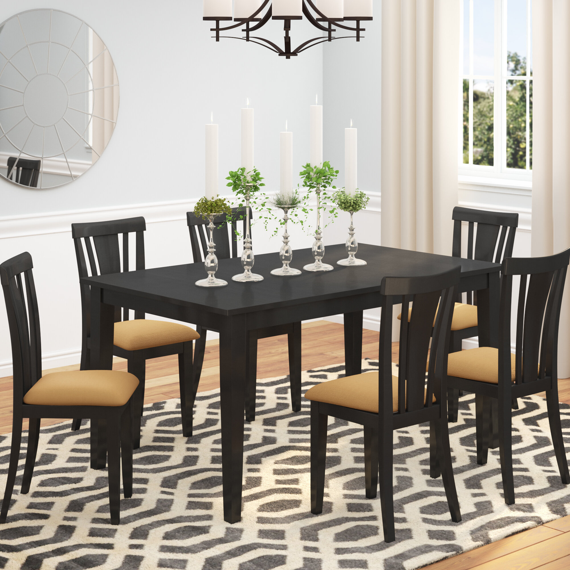 Andover Mills Oneill Modern 7 Piece Wood Dining Set Reviews Wayfair