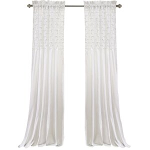 Elzira Solid Semi-Sheer Thermal Rod Pocket Curtain Panels (Set of 2)