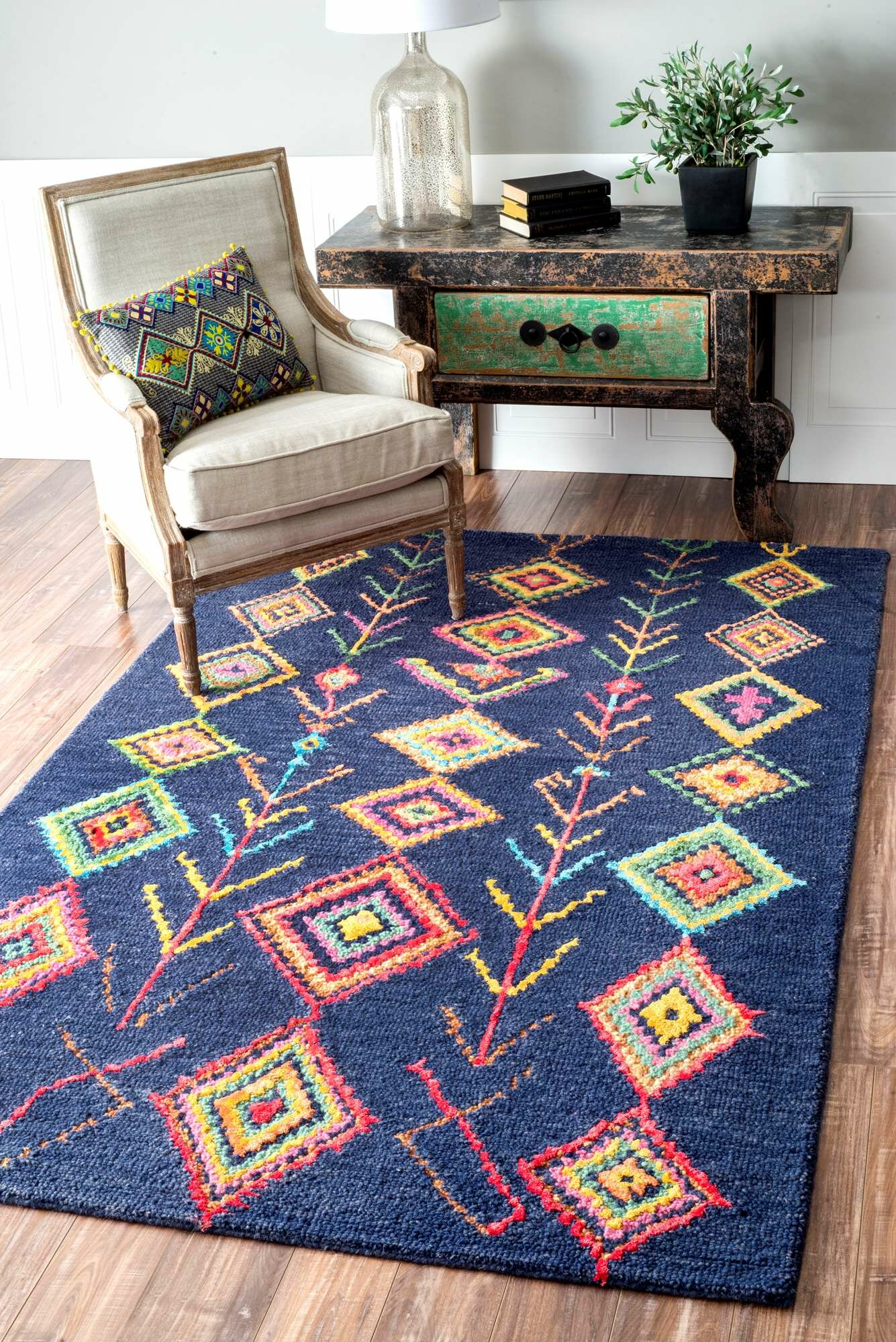 Claretta Hand Tufted Navy Blue Red Yellow Area Rug