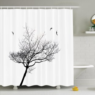 Tree Flying Birds Shower Curtain Set