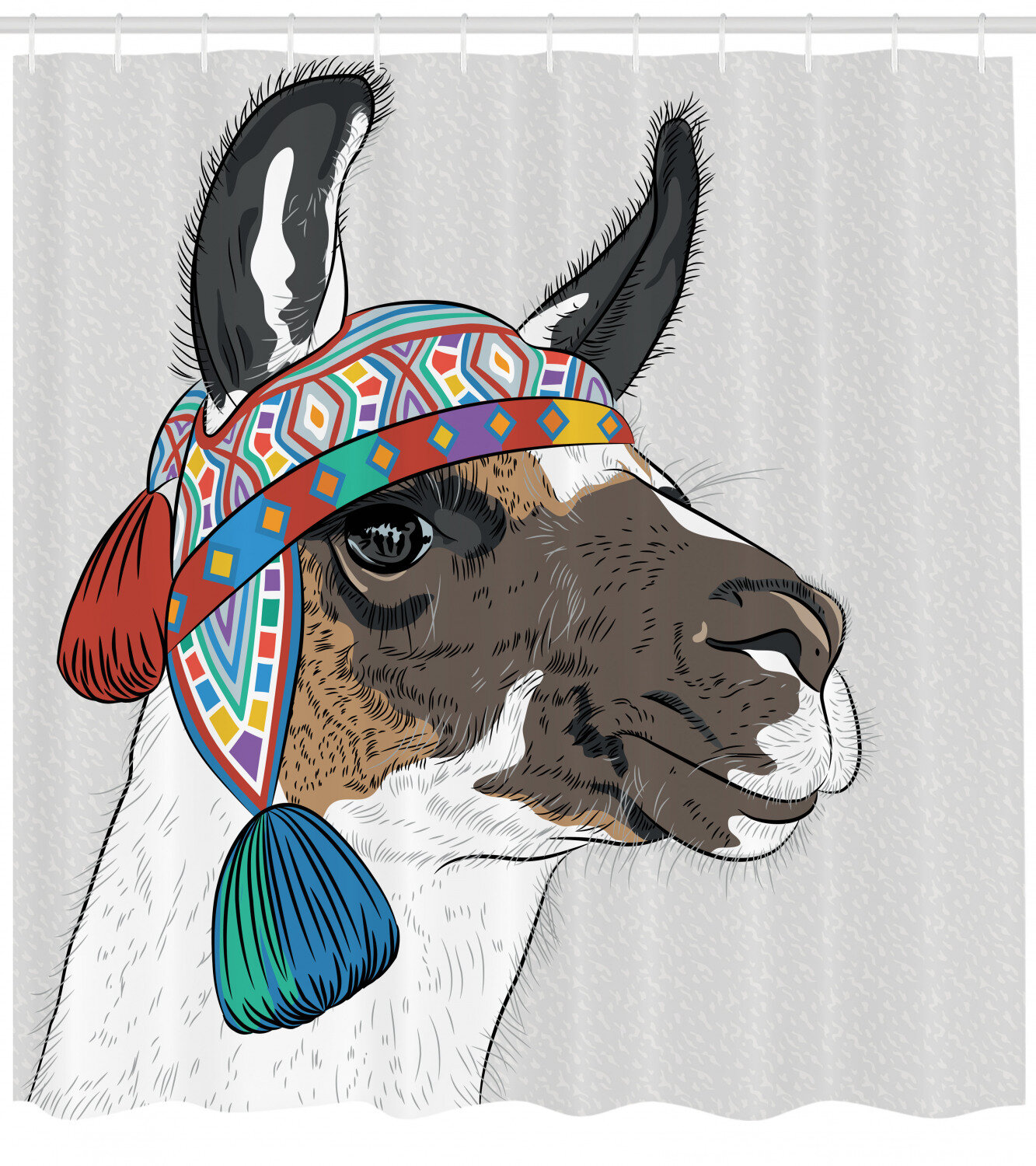 Ambesonne Llama Shower Curtain Alpaca With An Colorful Hat Peruvian Sketch Style Animal Abstract Pattern Cloth Fabric Bathroom Decor Set With Hooks