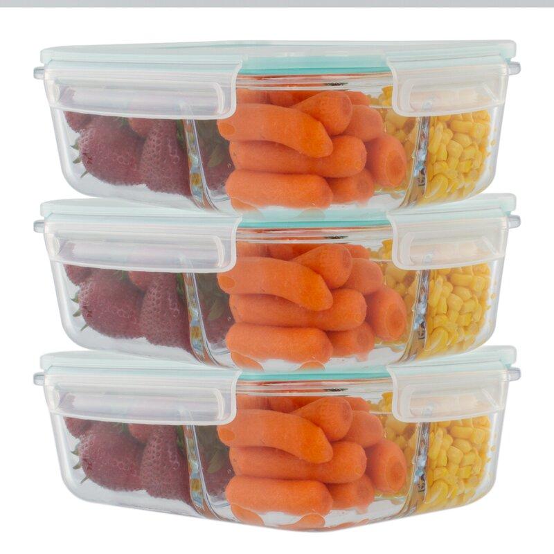 Rebrilliant Imkamp 3 Compartment Glass 51 Oz Food Storage Container