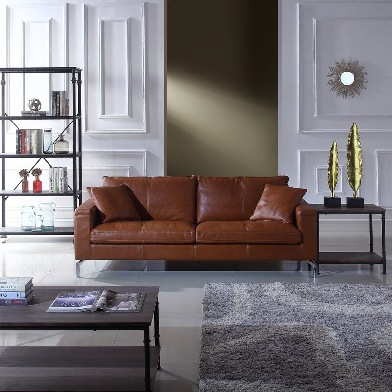 Best Sofa Stores: Nyyear Mid Century Modern Plush Top Grain Leather Sofa