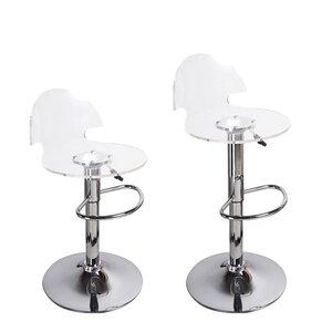Stanhope Contemporary Adjustable Height Swivel Bar Stool (Set of 2)