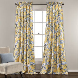 Panagia Nature/Floral Room Darkening Thermal Rod Pocket Curtain Panels (Set  Of 2)