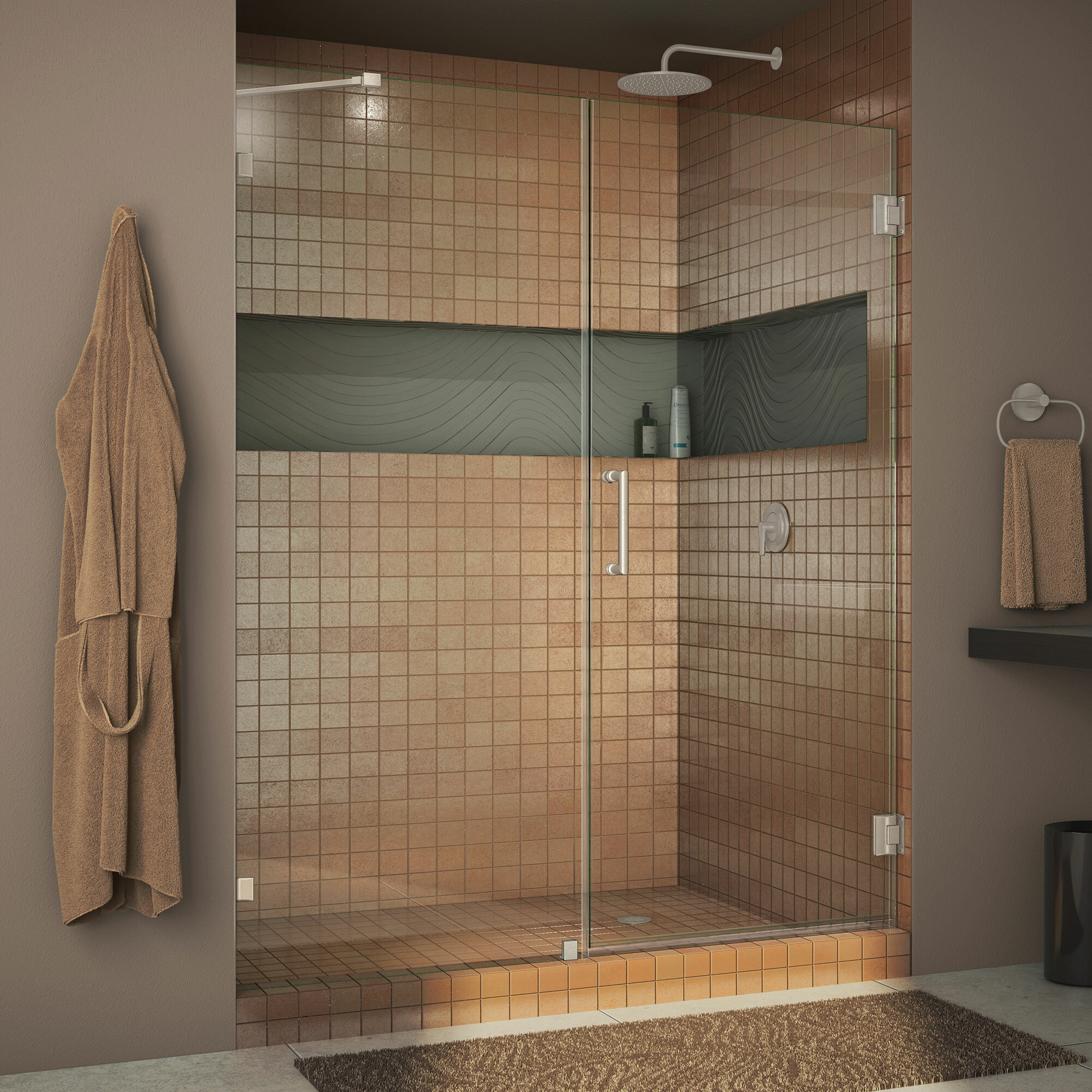 Dreamline Unidoor 60 X 72 Hinged Frameless Shower Door With