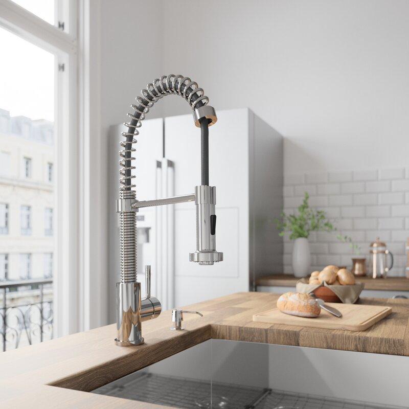 VIGO Edison Pull Down Single Handle Kitchen Faucet & Reviews | Wayfair