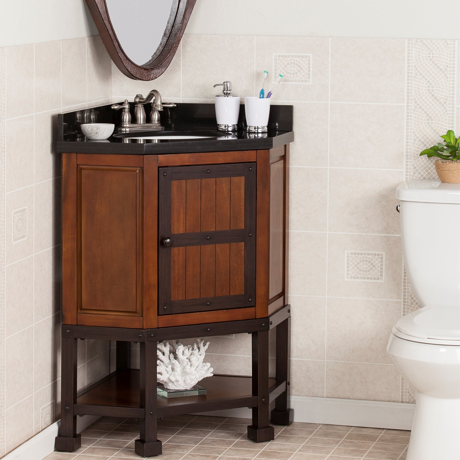 williston forge clarksburg 34 single corner bath vanity set wayfair rh wayfair com corner bathroom vanity with sink ideas corner bathroom vanity with 2 sinks