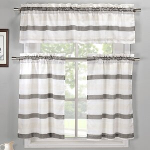 Ferguson 3 Piece Linen Kitchen Curtain Set