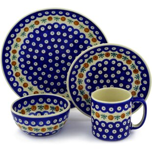 Mosquito Polish Pottery 4 Piece Place Setting Service for 1  sc 1 st  Wayfair & Polish Pottery Dinnerware   Wayfair