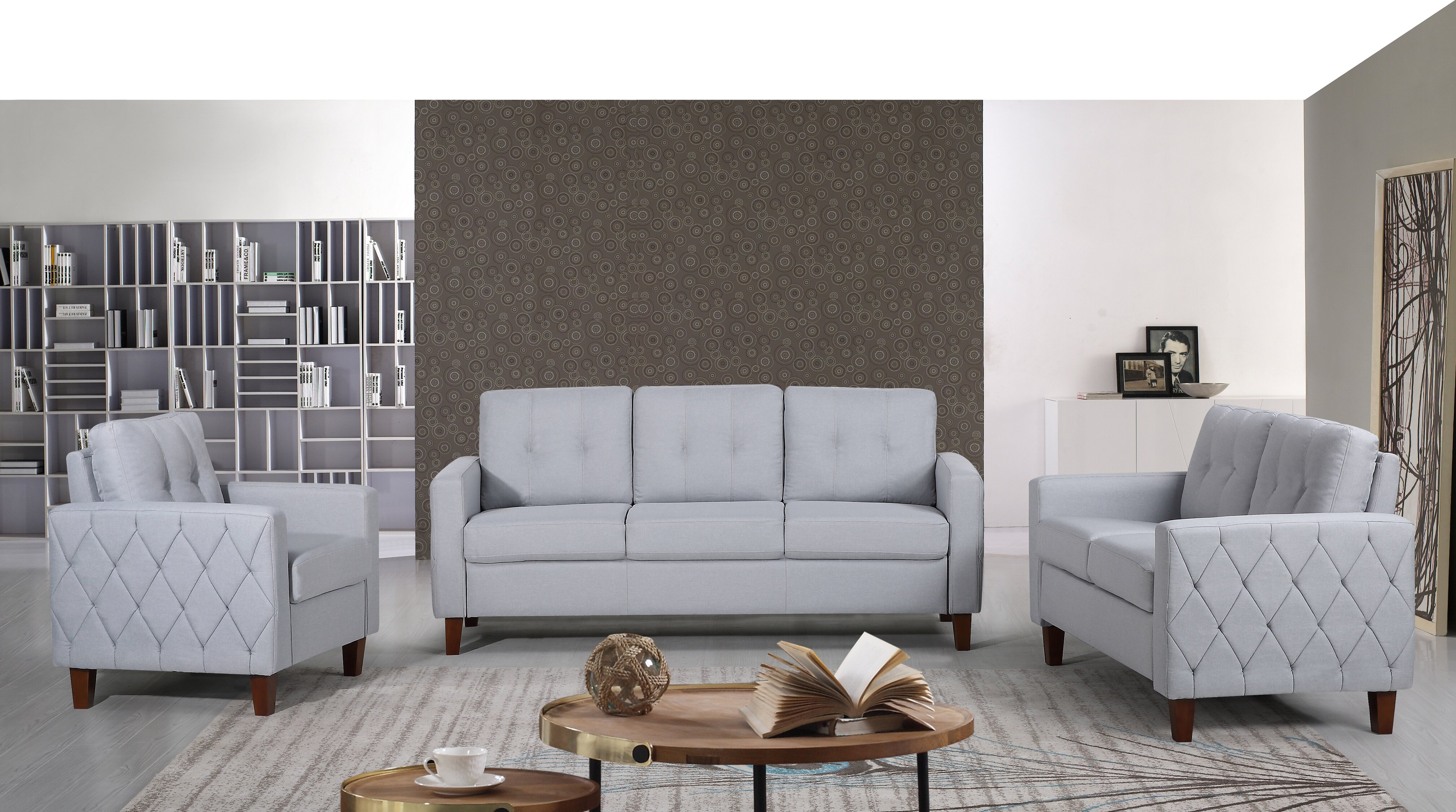 Ivy bronx harrad tufted mid century 3 piece living room set reviews wayfair