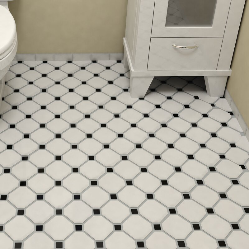 Retro Super Octagon 11 63 X Porcelain Mosaic Tile In Matte White With Glossy