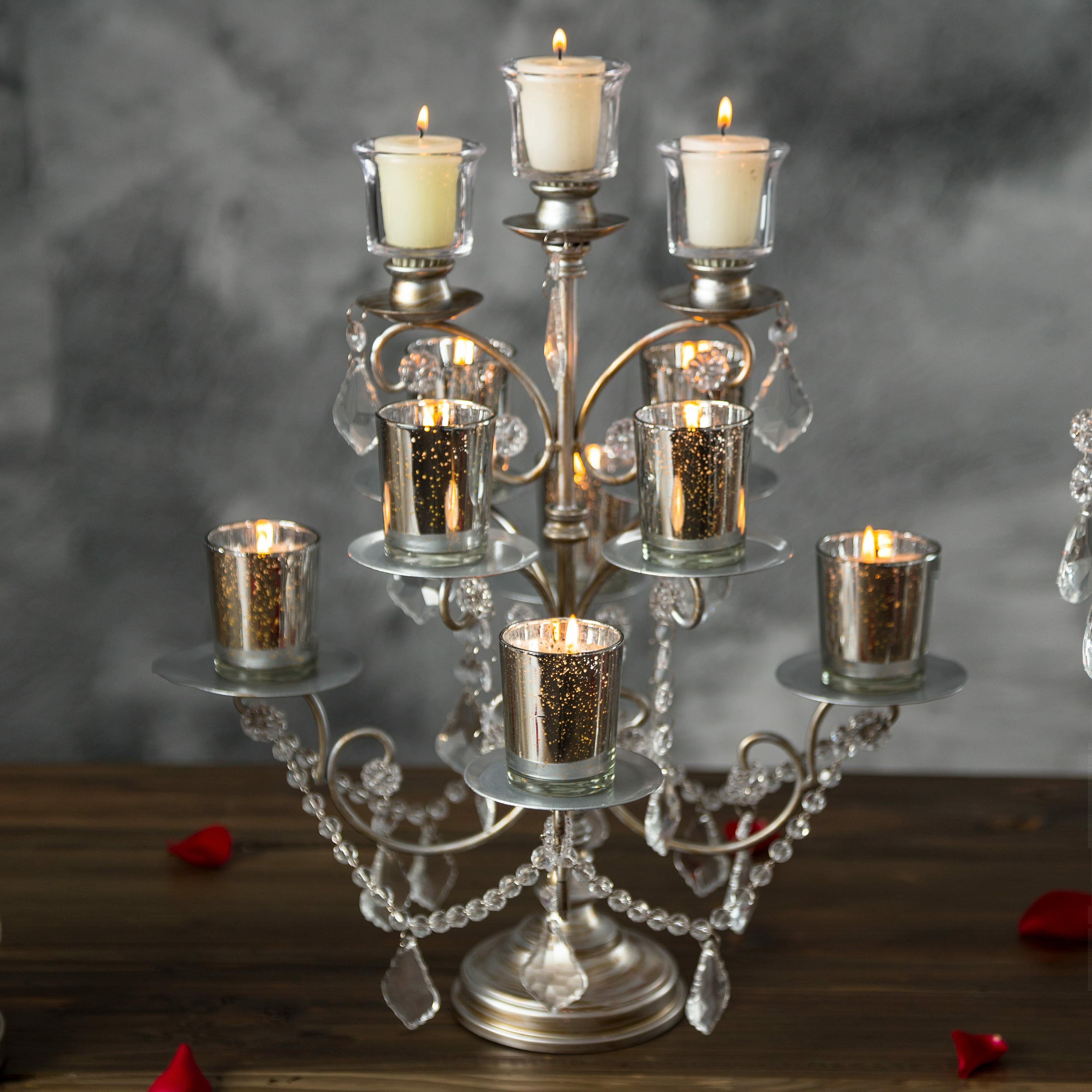 House Of Hampton Sherwood Crystal Draped Metal Cupcake Stand - Cupcake chandelier stand crystals