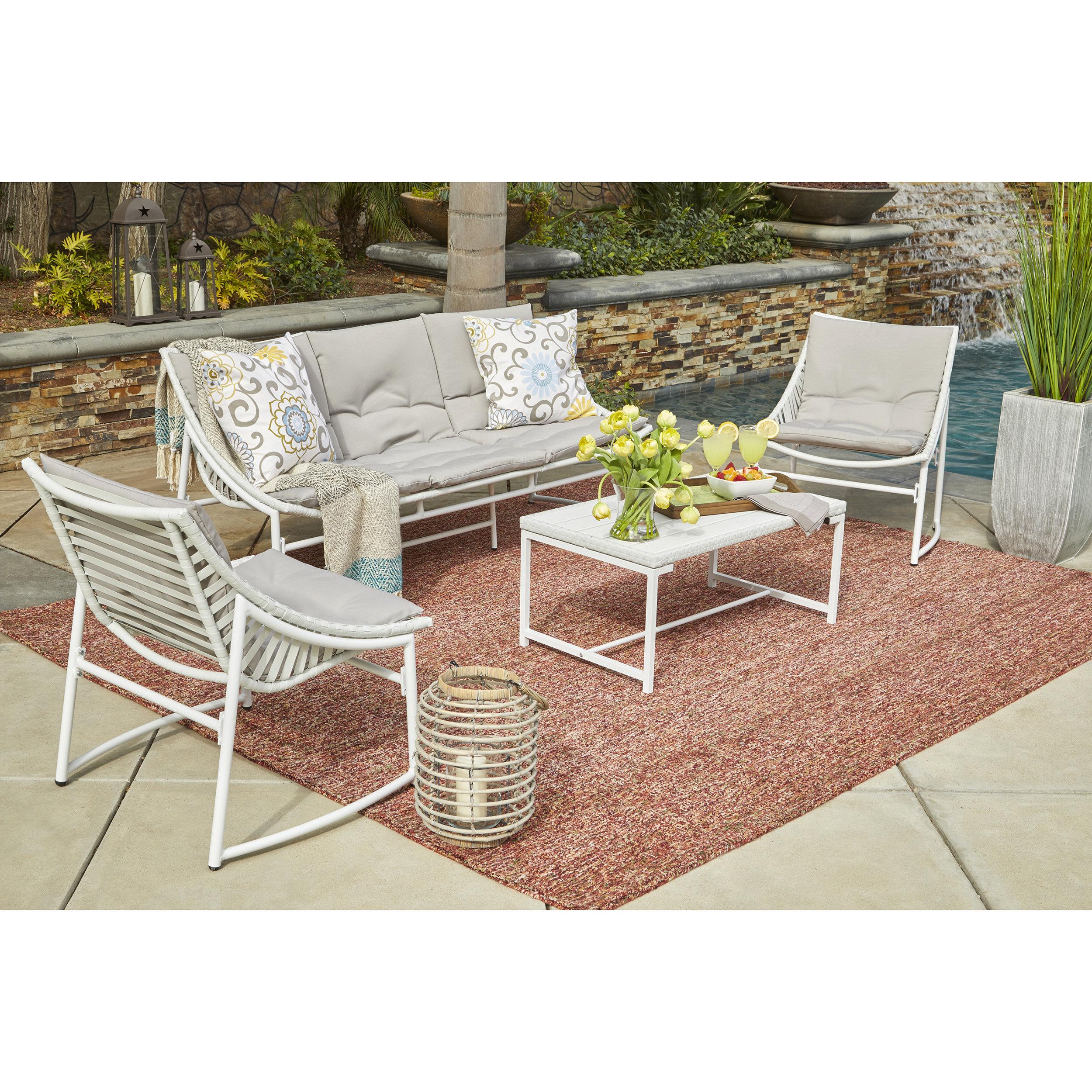 crick 4 piece sunbrella sofa set with cushions reviews joss main