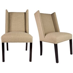 Nata Winged Nailhead Upholstered Side Chair (Set of 2)