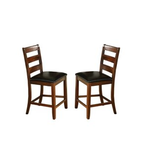 Edgar Ladder Back Wooden Pub with Footrest Upholstered Dining Chair (Set of 2)