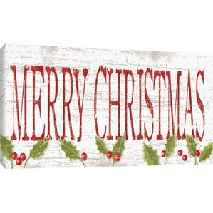 'Merry Christmas' Textual Art on Wrapped Canvas