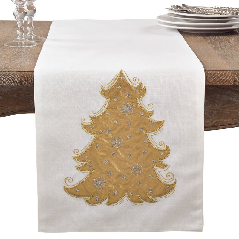 Metallic Christmas Tree Holiday Cotton Table Runner