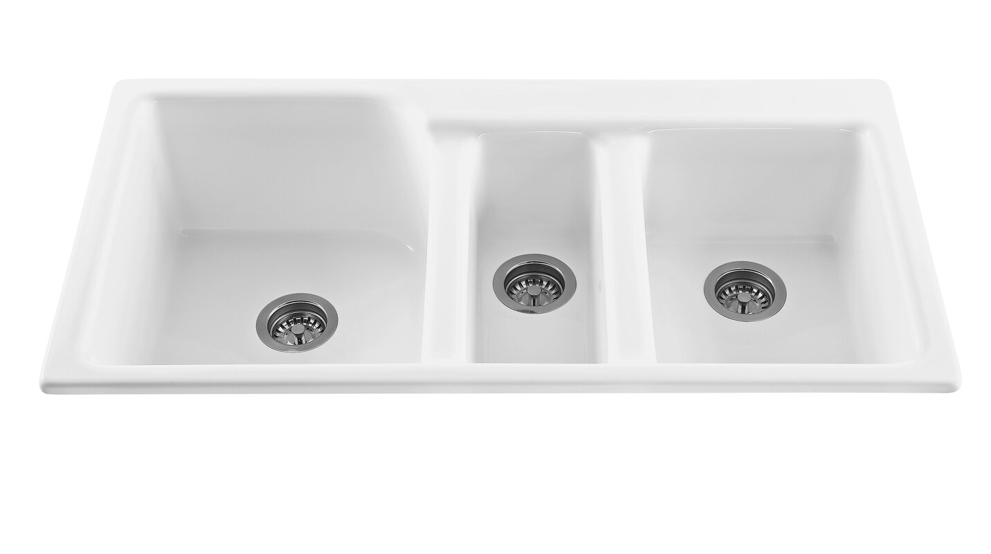 triumph 42   x 22 25   triple bowl kitchen sink reliance whirlpools triumph 42   x 22 25   triple bowl kitchen sink      rh   wayfair com