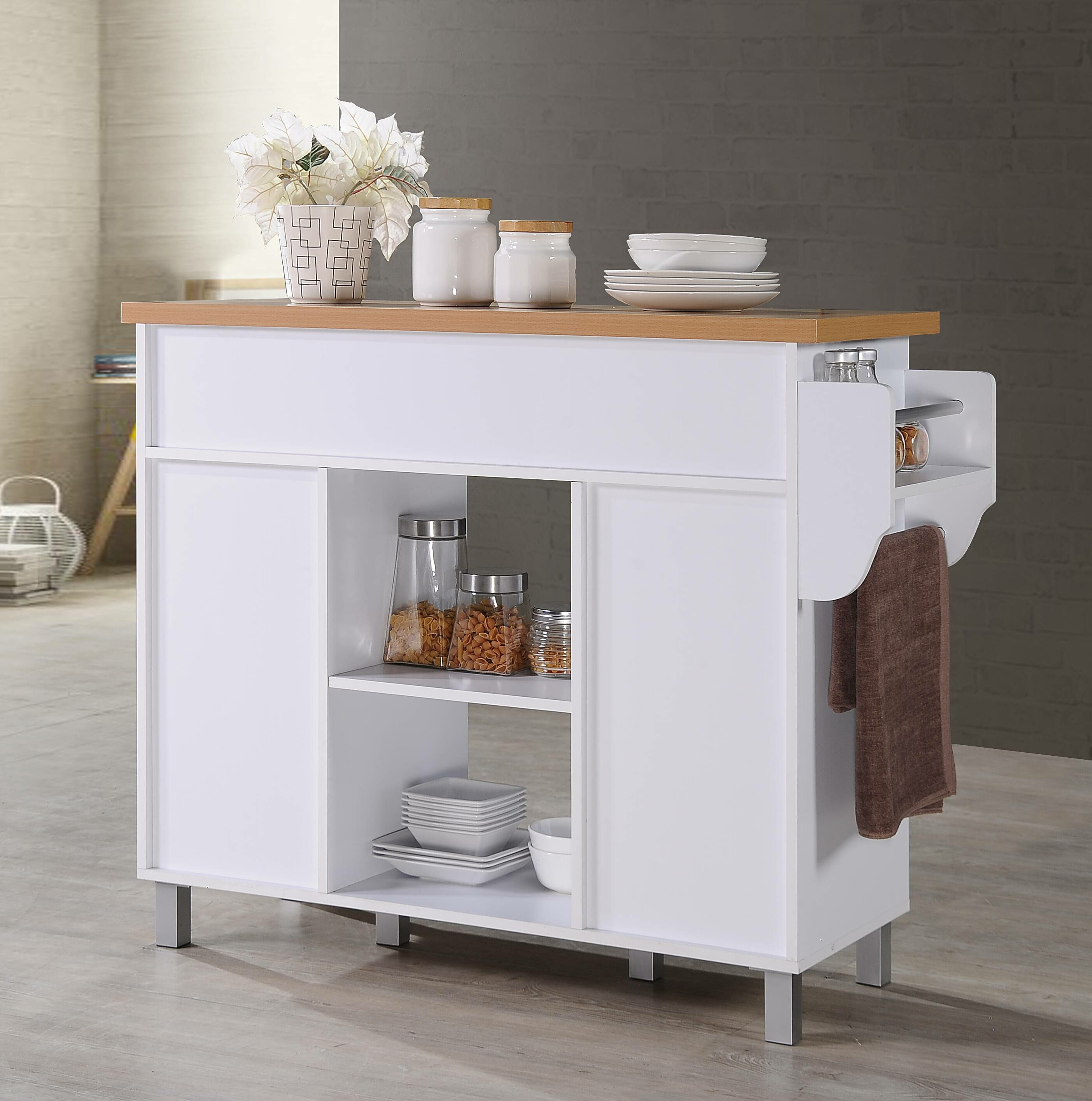 Hogle Kitchen Island With Spice Rack And Towel Rack &