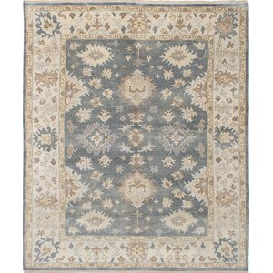 One-of-a-Kind Royal Ushak Hand-Knotted Dark Gray/Beige Area Rug