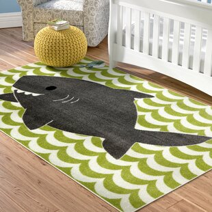 Heimbach Smiling Shark Lime Green Area Rug
