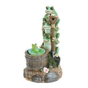 Solar Rotating Frog Garden Statue