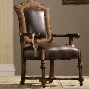 Burgundy Genuine Leather Upholstered Dini..