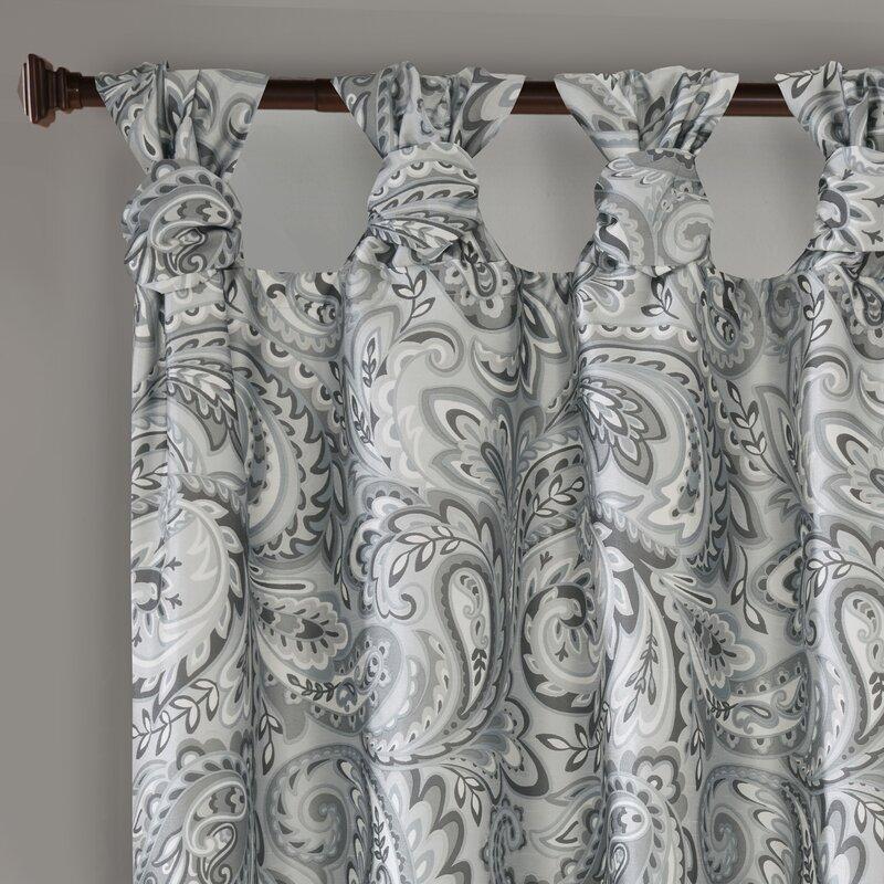 Jarrell Twist Printed Paisley Room Darkening Tab Top Single Curtain Panel