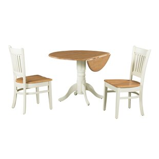 Agnese 3 Piece Drop Leaf Solid Wood Dining Set