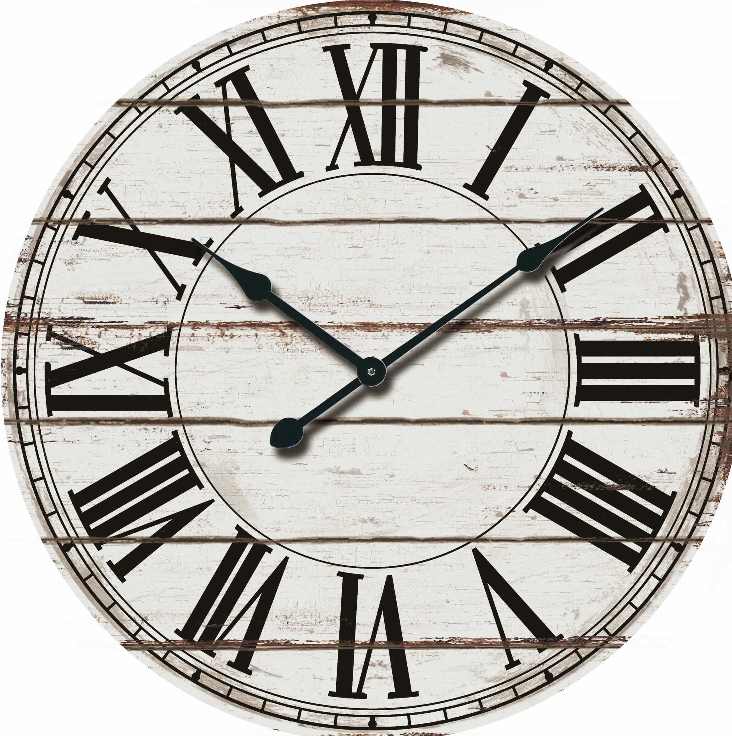 Nora Lane Oversized Rustic Wood 24 Wall Clock Reviews