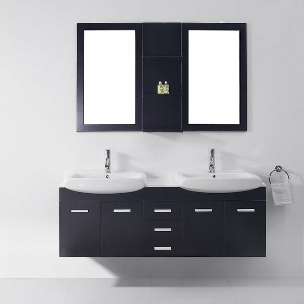 Virtu Usa Ultra Modern Series 59 Double Bathroom Vanity Set With White Stone Top And Mirror