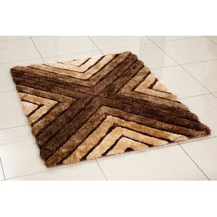 3D Whisper Cross Hand-Tufted Brown Area Rug by Hazelwood Home
