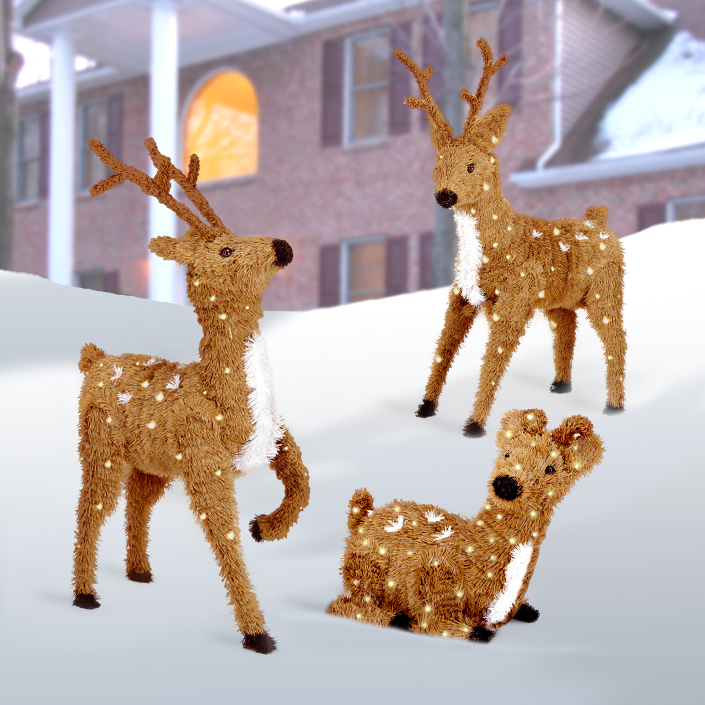 outdoor columbus gardens deer bronze decor ohio yard statues for