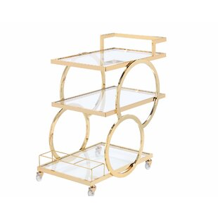Rolling Glass Bar Cart