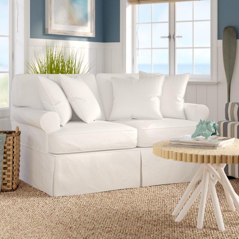 beachcrest home coral gables slipcovered loveseat reviews. Black Bedroom Furniture Sets. Home Design Ideas