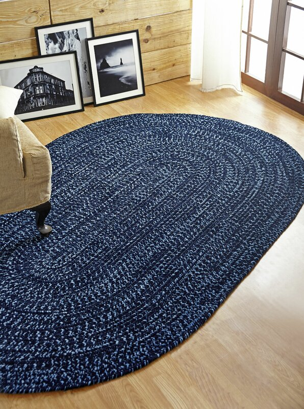Navy Blue Bathroom Rugs: Better Trends Chenille Reverible Tweed Braided Navy/Smoke