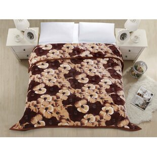23feabbda0 Soft Heavy Thick Blanket Reactive Print Spring Flowers Brown Colour with  Double Layer Reversible Plush Raschel Mink Blanket -Warm