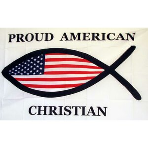 Proud American Christian Fish Traditional Flag