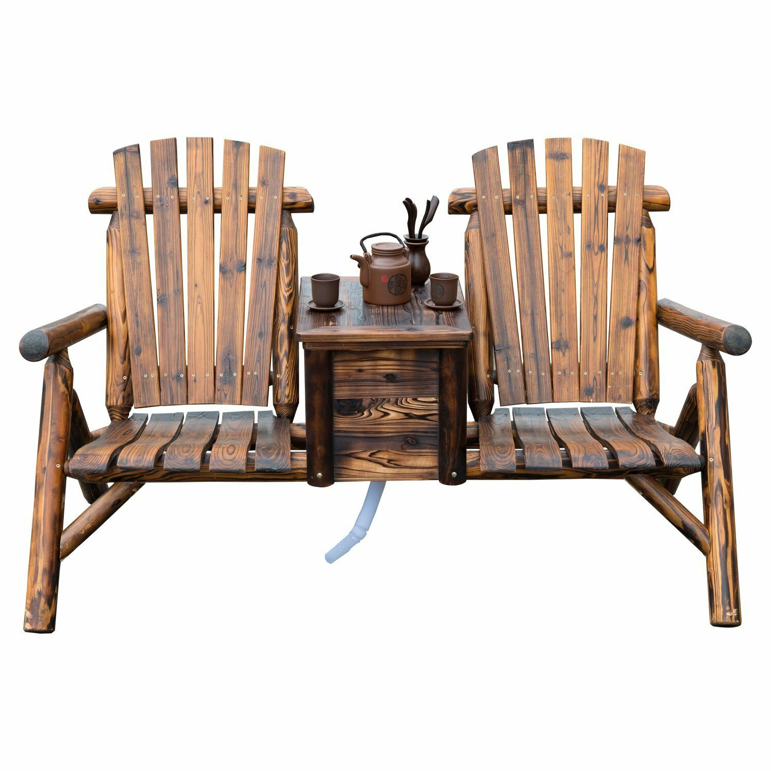 Millwood Pines Gwen Solid Wood Double Adirondack Chair With Table | Wayfair
