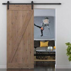 Z Bar Primed Sliding Knotty Solid Wood Panelled Alder Slab Interior Barn  Door