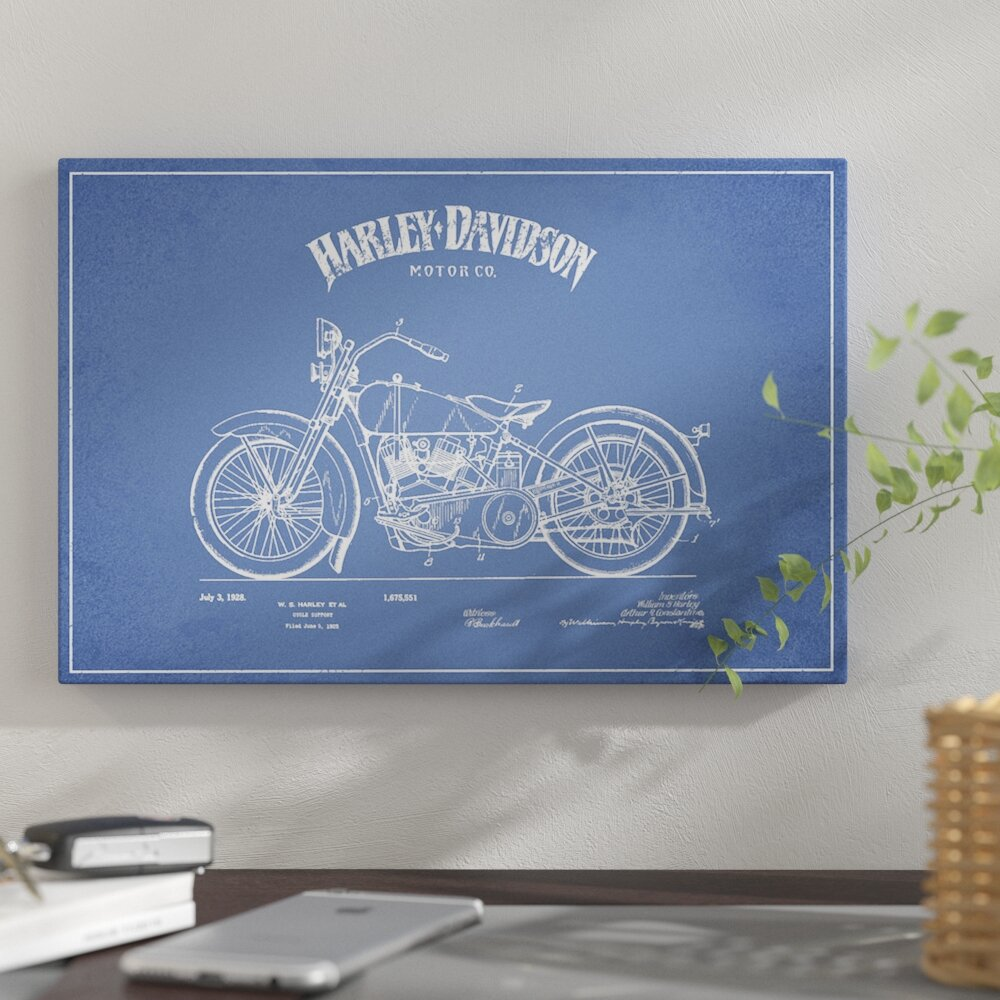 East Urban Home Harley Davidson Motorcycles Ii Graphic Art Print Leather Protectant On Canvas